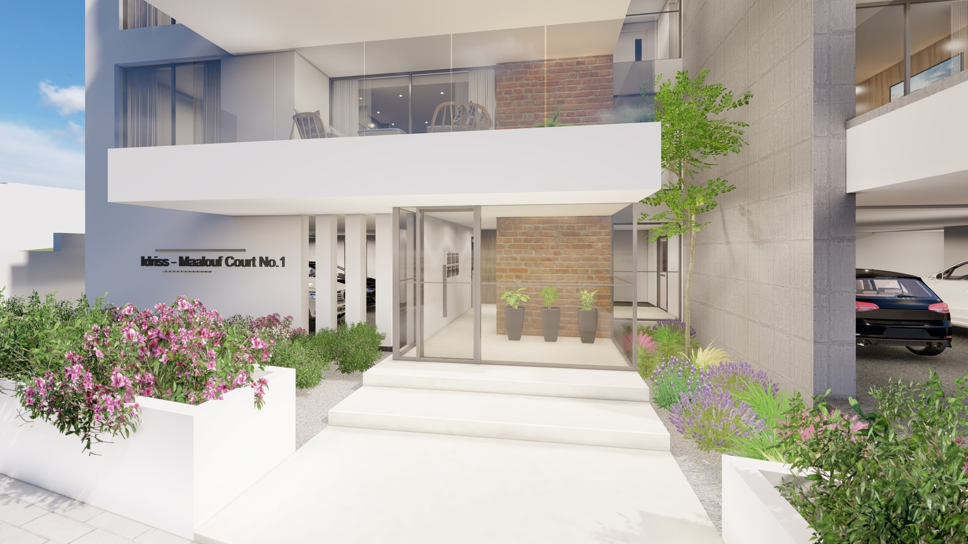 entrance of the luxury apartments in limassol