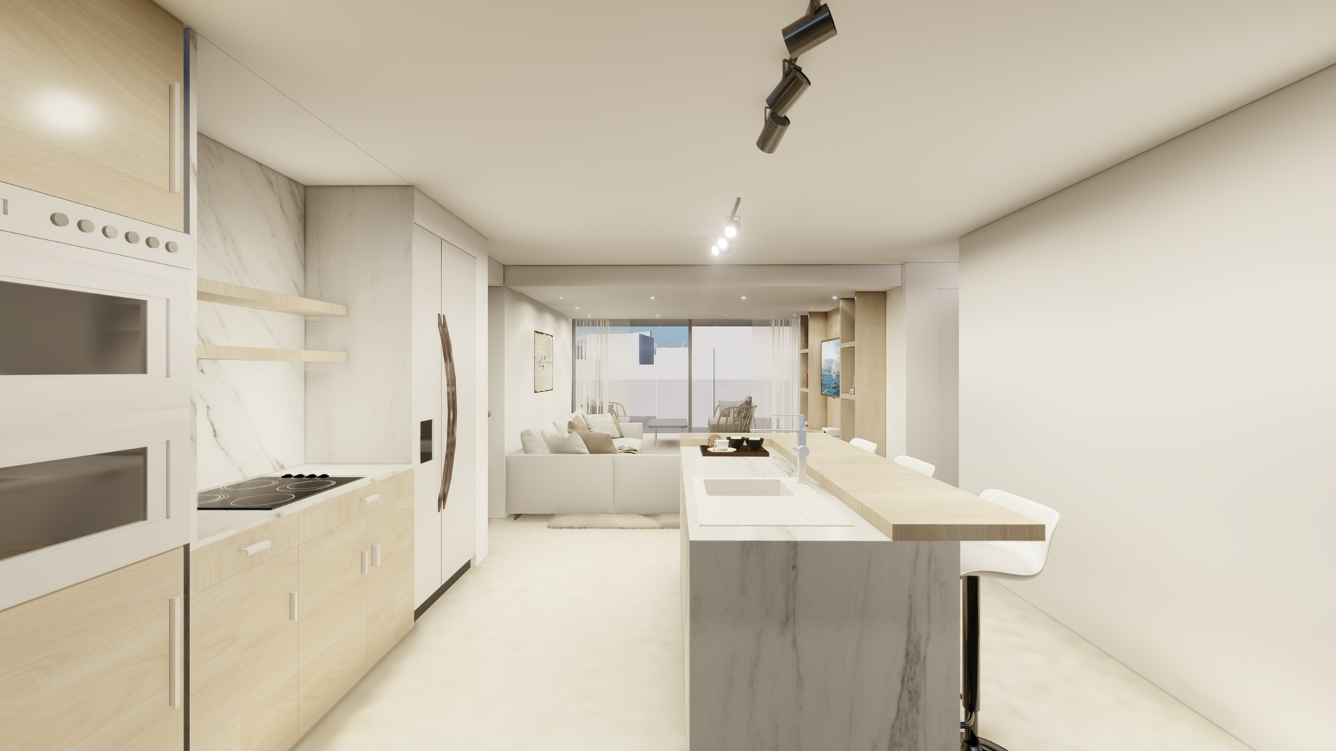 kitchen of the luxury apartments